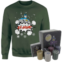 DC Batman Be Good or Kaboom Christmas Jumper and Joker Poker Bundle - forest Green - M - Forest Green