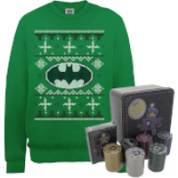 DC Batman Logo Christmas Jumper and Joker Poker Bundle - Kelly Green - L - Kelly Green