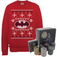 DC Batman Logo Christmas Jumper and Joker Poker Bundle - Red - S - Red