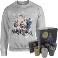 DC Batman and Robin Santa Claus Christmas Jumper and Joker Poker Bundle - Grey - XXL - Grey