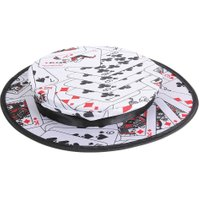 High-end Poker Pattern Magic Hat Cap Folding Spring Magic Props Stage Party Performance Props Classic Magic Tricks