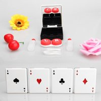 Portable Contact Lens Boxes Poker Design Invisibility Glasses Nursing Cases Random Color